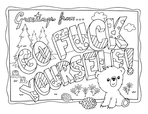 swear word adult coloring pages - Adult Color Pages