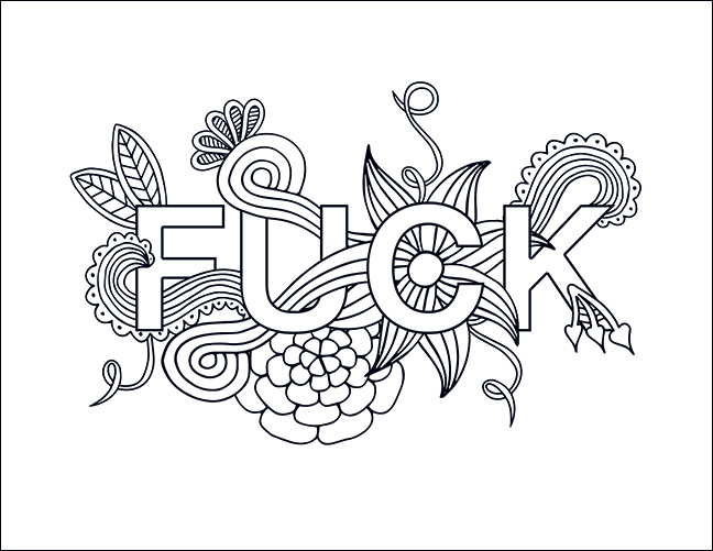 Adult swear word coloring page